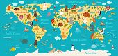 Постер, плакат: Animals world map