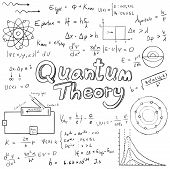 Постер, плакат: Quantum Theory Law And Physics Mathematical Formula Equation Doodle Handwriting Icon In White Isola