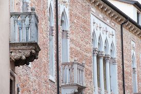 foto of vicenza  - View of a balcony and columns of Cavalloni Thiene Palace in the historical Contr - JPG