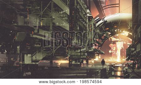 scifi scenery of