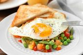 Plate with delicious over hard fried egg, toasts and vegetables, closeup poster