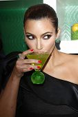LOS ANGELES - MAY 10:  Kim Kardashian at the Kim Kardashian & Midori Melon Liqueur launches The Mido