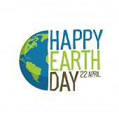 Earth day logo design. Happy Earth Day, 22 April. World map background  raster illustration.  poster
