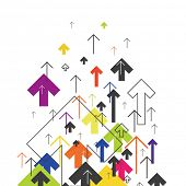 Arrows Up. Colorful arrows on white background. Abstract Success Concept. Growing arrows Illustratio poster