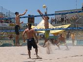HUNTINGTON BEACH, CA. - MAY 23: Rogers, Dalhausser, Loomis and Patterson playing the quarter final m