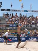 HUNTINGTON BEACH, CA. - MAY 23: Phil Dalhausser and Todd Rogers vs Casey Patterson and Ty Loomis for the mens quarter final match at the AVP Huntington Beach Open in Huntington Beach, California May 23rd 2009