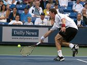 LOS ANGELES, CA. - JULY 27: Pete Sampras  and Marat Safin (picture) play an exhibition match at the