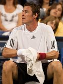 LOS ANGELES, CA. - JULY 27: Marat Safin during a break of an exhibition match at the L.A. Tennis Ope