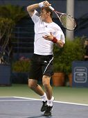 LOS ANGELES, CA. - JULY 27: Pete Sampras and Marat Safin (pictured) play an exhibition match at the