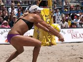 HERMOSA BEACH, CA. - AUGUST 8: Jen Kessy (pictured) and April Ross vs. Nicole Branagh and Elaine You