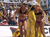 HERMOSA BEACH, CA. - AUGUST 8: Jen Kessy (R) and April Ross (L) vs. Nicole Branagh and Elaine Youngs