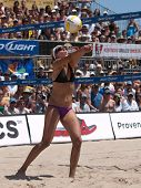 HERMOSA BEACH, CA. - AUGUST 8: Jen Kessy and April Ross (pictured) vs. Nicole Branagh and Elaine You
