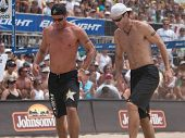 HERMOSA BEACH, CA. - AUGUST 9: Phil Dalhausser and Todd Rogers vs. John Hyden (R) and Sean Scott (L)