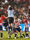 CARSON, CA. - AUGUST 22: Goal keeper Lance Parker punching the ball out of the box during the Chivas USA vs. Toronto FC match on August 22, 2009 at the Home Depot Center in Carson.