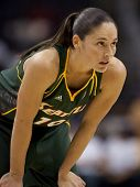 LOS ANGELES, CA. - SEPTEMBER 16: Sue Bird playing at the WNBA playoff game of the Sparks vs. Storm o