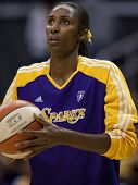 LOS ANGELES, CA. - SEPTEMBER 16: Lisa Leslie warming up before the WNBA playoff game of the Sparks v