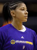LOS ANGELES, CA. - SEPTEMBER 16: Candace Parker warming up before the WNBA playoff game of the Sparks vs. Storm on September 16, 2009 in Los Angeles.