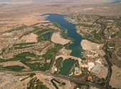 HENDERSON, NV. - APRIL 09: Aerial view of Lake Las Vegas, a man made 320 acre lake also features wor