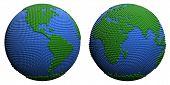 Stylized 3D globe.