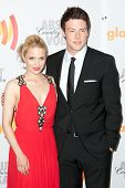 LOS ANGELES, CA. - APR 17: Cory Monteith (R) and Diana Agron arrive at the 21st Annual GLAAD Media A
