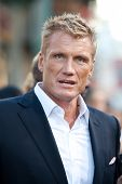 HOLLYWOOD, CA. - AUG 3: Dolph Lundgren arrives at The Expendables Los Angeles premiere at Grauman's
