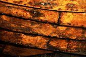 Detalhe de barco de casco, textura de madeira