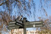 A pigeon on a pedestrian sign in St James's park, London, England