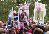 LONDON, UK - APRIL 29: The crowd holding placard at Prince William and Kate Middleton wedding, April 29, 2011 in London, United Kingdom