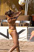 GLENDALE, AZ - SEPTEMBER 27: Olympian Jenny Johnson Jordan competes at the AVP Best of the Beach vol