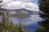 foto of klamath  - View of Crater Lake in Southern Oregon and ancient volcanic mountain that blew it - JPG