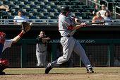 MESA, AZ - NOV 20: Mark Trumbo of the Scottsdale Scorpions swings at a pitch in the Arizona Fall League baseball game with the Mesa Solar Sox on November 20, 2008 in Mesa, Arizona.