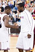 GLENDALE, AZ - DECEMBER 20: Arizona State University guard James Harden #13 greets teammate before t
