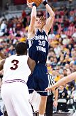 GLENDALE, AZ - DECEMBER 20: Brigham Young University forward Lee Cummard #30 puts up a jump shot in