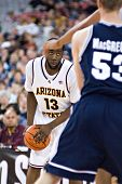 GLENDALE, AZ - DECEMBER 20: Arizona State University guard James Harden #13 prepares to drive during