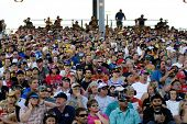 AVONDALE, AZ - APRIL 18: Fans in the grandstand watch the NASCAR Sprint Cup race at the Phoenix Inte