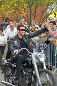 TEMPE, AZ - APRIL 27: Actor Hugh Jackman appears on a motorcycle at the premiere of X-Men Origins: W