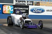 CHANDLER, AZ - OCTOBER 1: A dragster competes in the NHRA Pacific Division drag racing championship