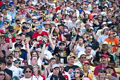 AVONDALE, AZ - APRIL 10: Fans in the grandstand at the Subway Fresh Fit 600 NASCAR Sprint Cup race o