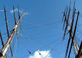 Masts of the tea clipper Cutty Sark, which is in dry dock at Greenwich, London.