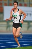 LINZ, AUSTRIA - AUGUST 1 : Michael Schmid (No. 68) finishes second in the men's 5000m event at Austr