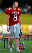 WOLFSBERG, AUSTRIA - AUGUST 18 American Football B-EC: QB Christoph Gross (#8, Austria) and his team beat Italy 34:3 on August 18, 2009 in Wolfsberg, Austria.