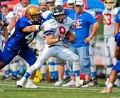WOLFSBERG, AUSTRIA - AUGUST 22 American Football B-EC: RB Stanislay (#9 , Czech) and his team beat Italy 27:17 on August 22, 2009 in Wolfsberg, Austria.