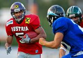 WOLFSBERG, AUSTRIA - AUGUST 18 American Football B-EC: WR Timothee Bach (#5, Austria) and his team beat Italy 34:3 on August 18, 2009 in Wolfsberg, Austria.