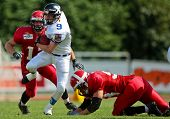 WOLFSBERG, AUSTRIA - AUGUST 18: American Football B-EC: RB Stanislav Jantos (#9, Czech) and his team beat Denmark 30:15 on August 18, 2009 in Wolfsberg, Austria.