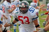 WOLFSBERG, AUSTRIA - AUGUST 22: American Football B-EC: LB Jiri Zavesky (#53, Czech) and his team beat Italy 27:17 on August 22, 2009 in Wolfsberg, Austria.
