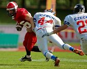 WOLFSBERG, AUSTRIA - AUGUST 18 American Football B-EC: RB Esben Fogh Rasmussen (#6, Denmark) and his team lose 15:30 against Czech Republic on August 18, 2009 in Wolfsberg, Austria.