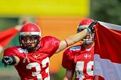 WOLFSBERG, AUSTRIA - AUGUST 20 American Football B-EC: DB Kristian Nielsen (#33, Denmark) and his team beat the Czech Republic 34:0 on August 20, 2009 in Wolfsberg, Austria.