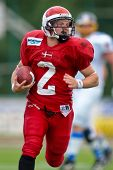 WOLFSBERG, AUSTRIA - AUGUST 18: American Football B-EC: RB Dan Klatoft B?hm (#2, Denmark) and his team lose 15:30 against Czech Republic on August 18, 2009 in Wolfsberg, Austria.
