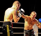 VIENNA, AUSTRIA - OCTOBER 3 Charity Boxing:  Sladi Apanovic (left, Austria) beats Michael Paris (rig