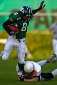 KORNEUBURG, AUSTRIA - APRIL 17: WR Pasha Asiladab (Dragons #8) at Danube Dragons beat Thonon Black P